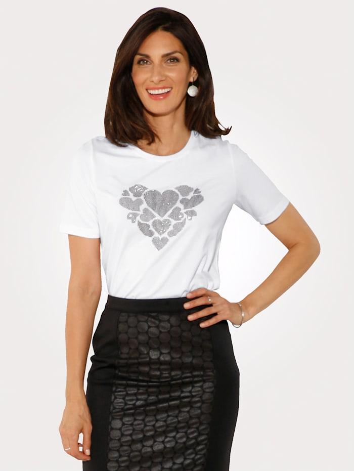 MONA Shirt mit Applikationen, Weiß/Silberfarben