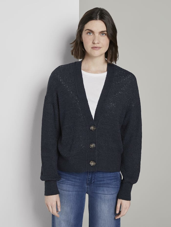Tom Tailor Cardigan mit Ballon-Ärmeln, Sky Captain Blue