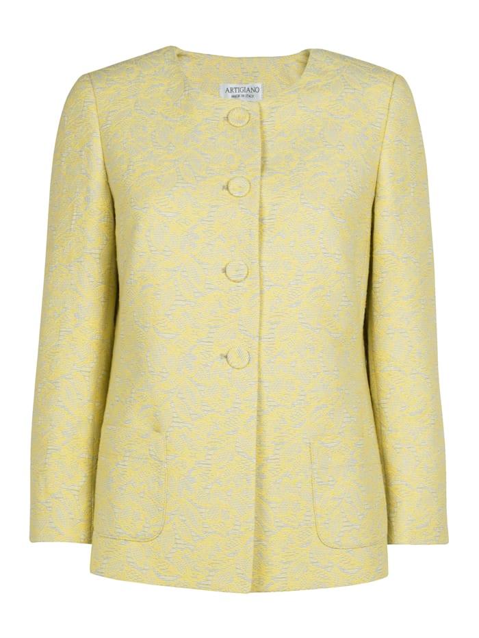 Collarless jacket made from elegant jacquard