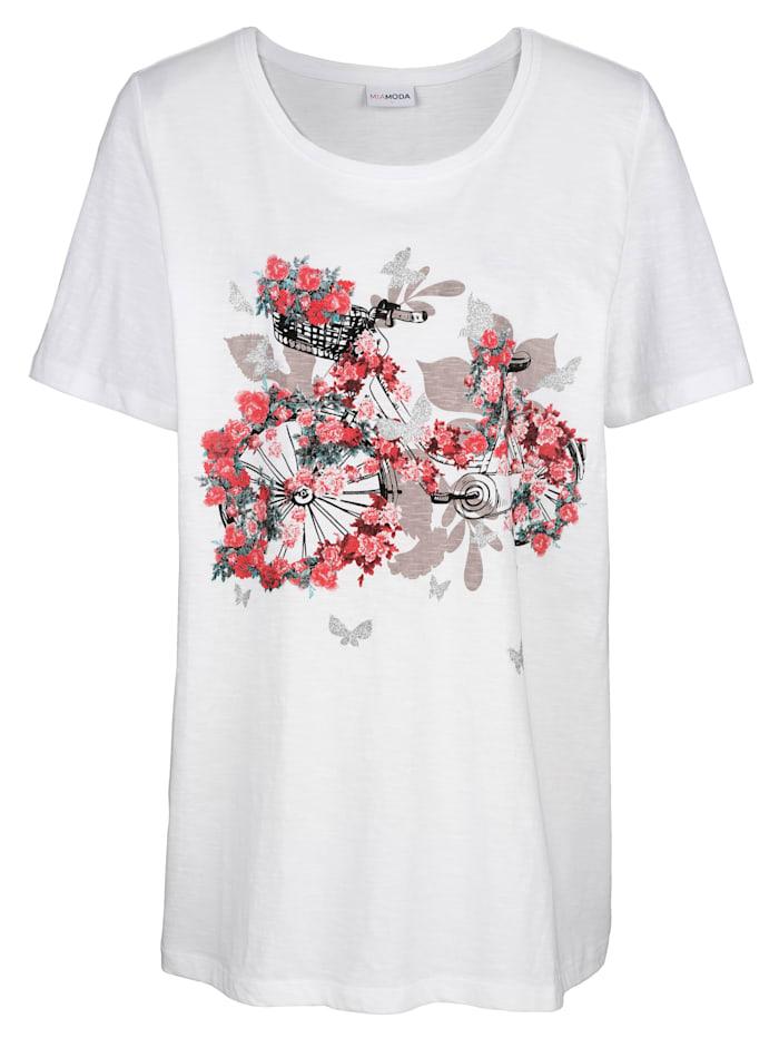 MIAMODA Shirt mit platziertem Druck, Weiß