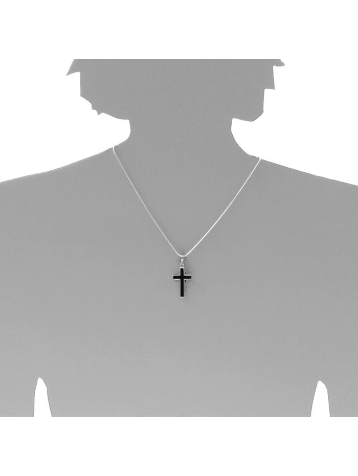 Kette mit Anhänger - Kreuz 28 x 18 - Silber 925/000 - Bernstein