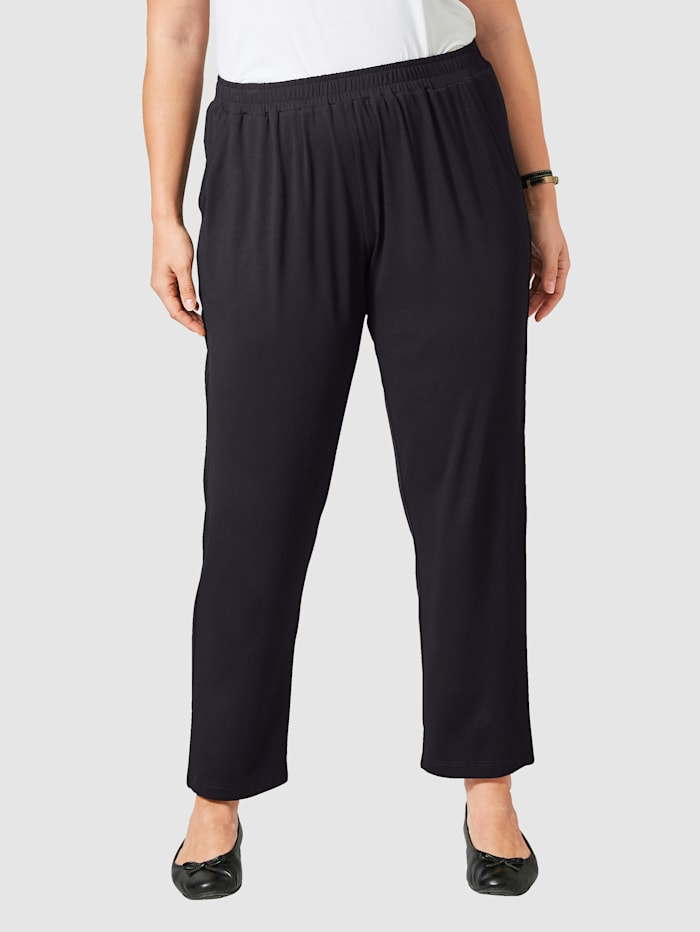 Janet & Joyce Džersej nohavice s elastickou pásovkou, Čierna