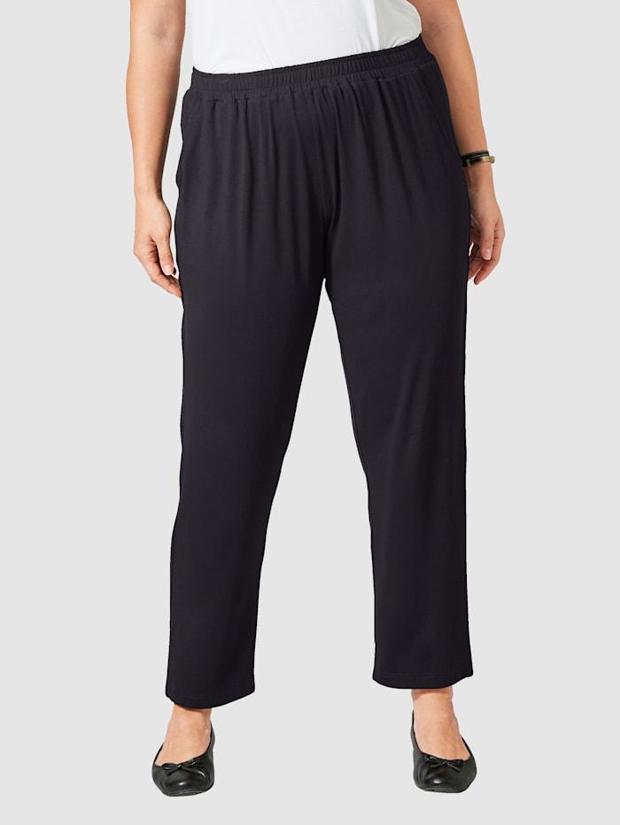 Janet & Joyce Jersey broek met elastische band, Zwart