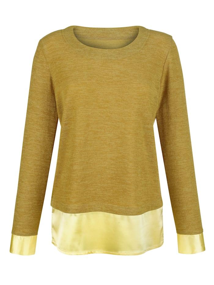 Pullover Mit Satin-Streifen am Saum