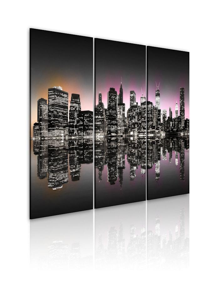 artgeist Wandbild Eine Stadt, die nie einschläft - NYC, Orange,Schwarz,Grau,rosa