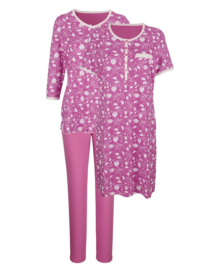 Harmony Pyjamas och nattlinne – prisvärt, Fuchsia/Benvit