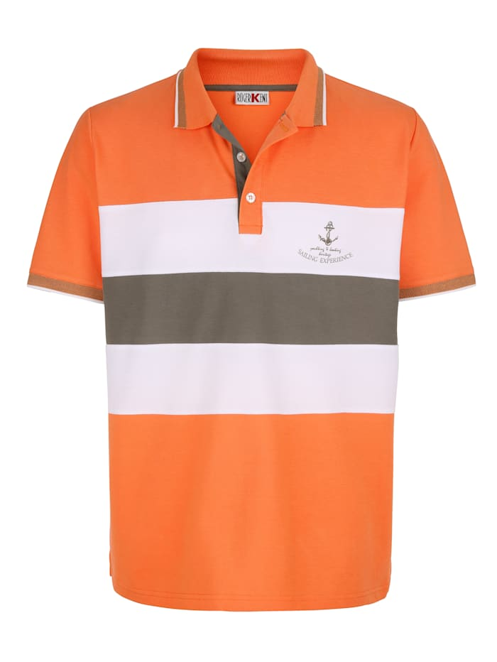 Roger Kent Poloshirt mit Kontraststreifen, Orange
