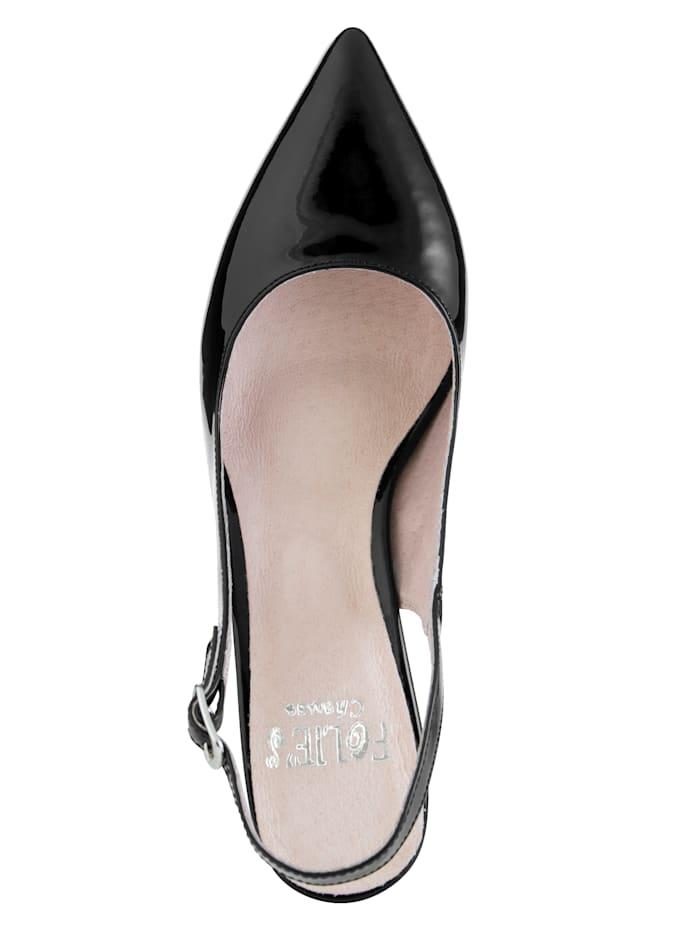 Sling obuv z kvalitnej lakovanej kože