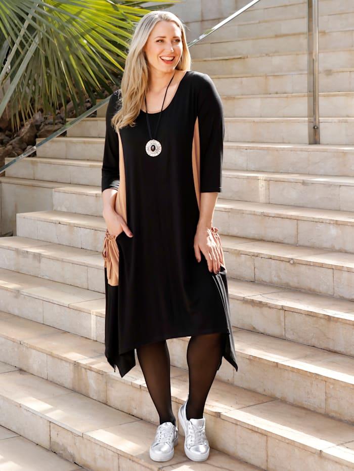 MIAMODA Robe à poches et empiècements contrastants, Noir/Marron