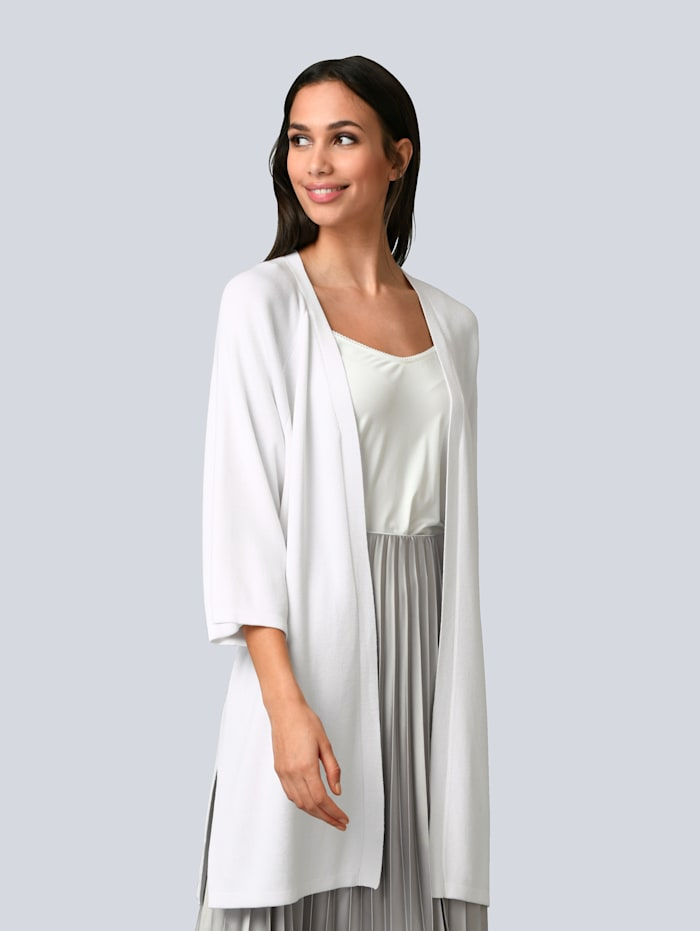 Alba Moda Strickjacke mit Seitenschlitzen, Off-white