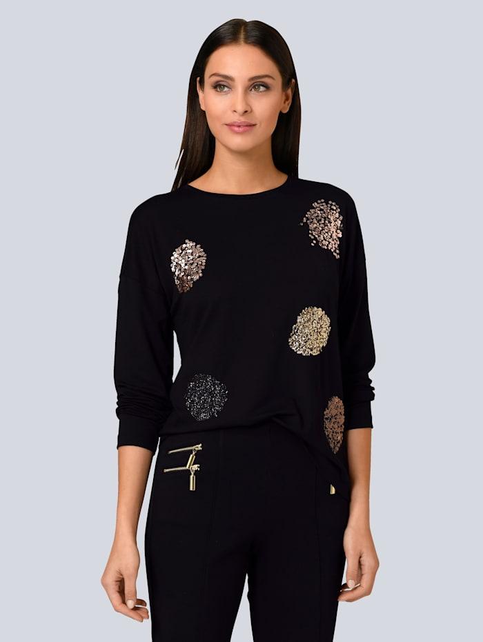Alba Moda Shirt mit Pailletten-Details, Schwarz/Rosé/Goldfarben