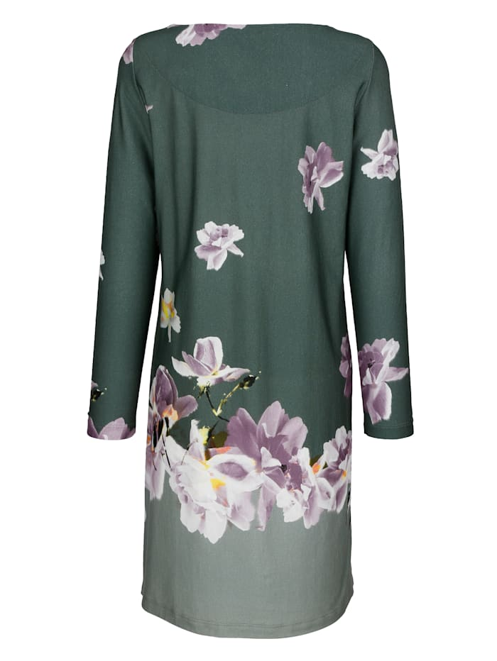 Nightdress with a mixed scale floral print