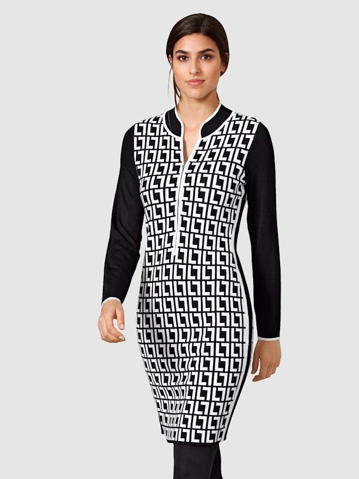 Alba Moda Kleid mit kleinem Stehkragen, Schwarz/Weiß