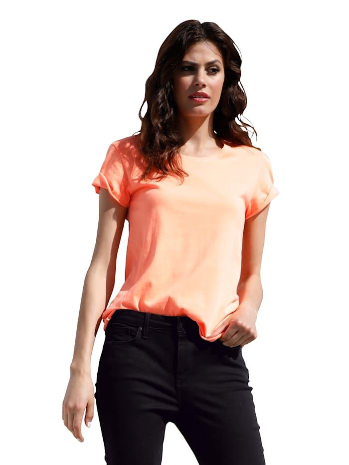 Emily van den Bergh Shirt met opschrift achter, Neonoranje