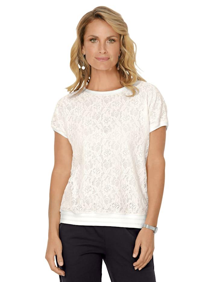 MONA Shirt met bloemenkant, Ecru