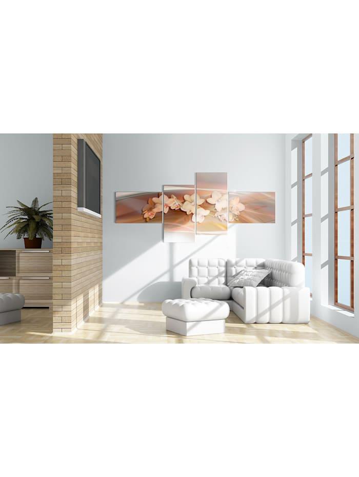 Wandbild Weiße Orchidee am herbstlichen Hintergrund