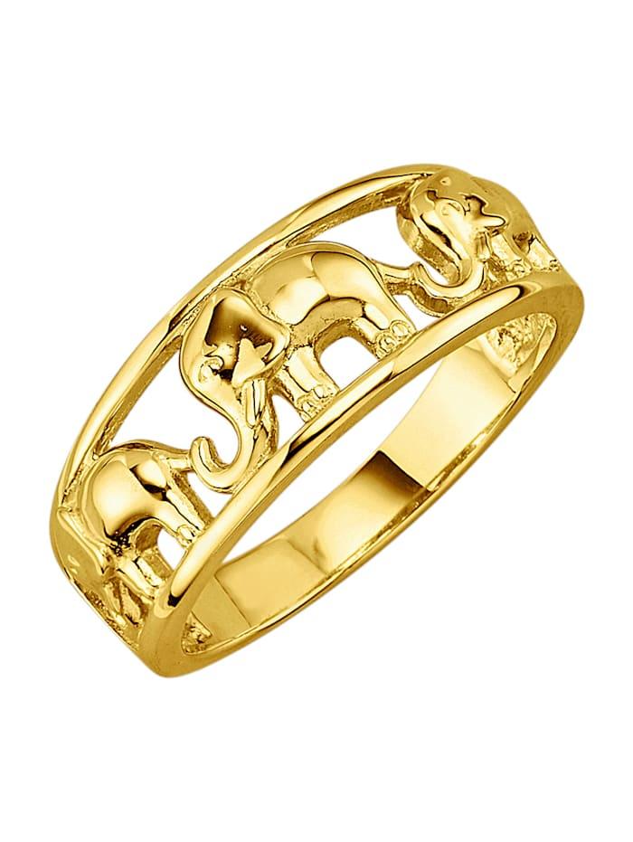 Diemer Gold Ring med elefanter, Guldfärgad