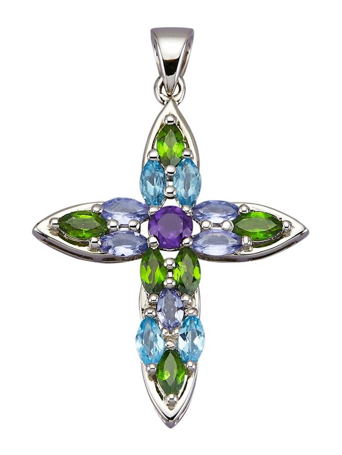 Hänge – kors med vackra stenar, Flerfärgad