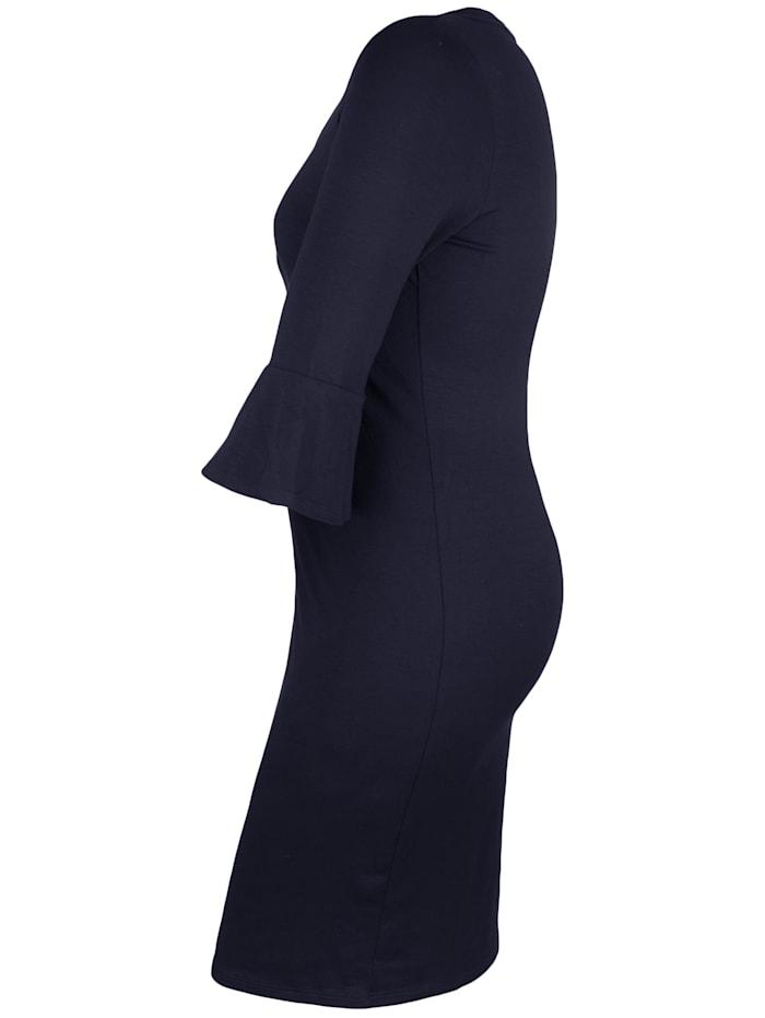 Jerseykleid mit Trompetenärmeln