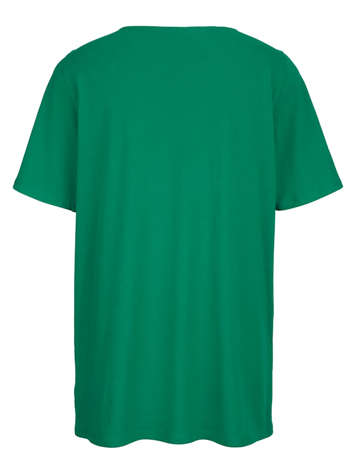 Shirt mit transparenter Spitze am Ausschnitt