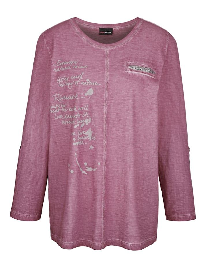 Shirt mit glitzerndem Schrifte-Druck und Pailletten
