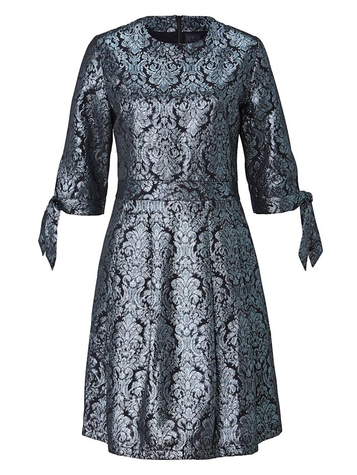 REKEN MAAR Kleid mit Brokat-Muster, Schwarz/Blau