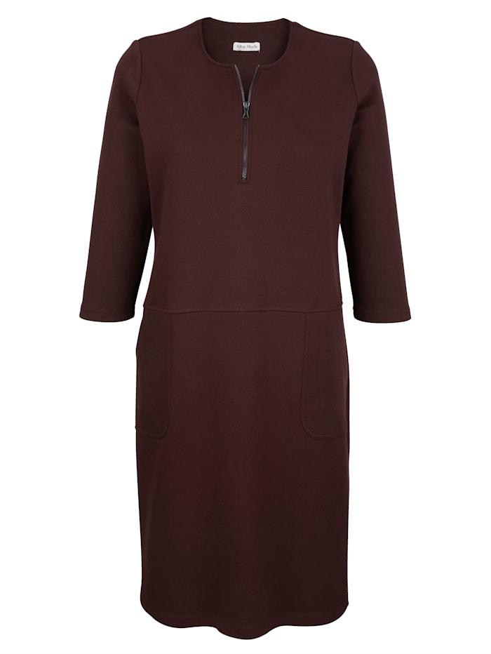 Jersey jurk met rits aan de hals