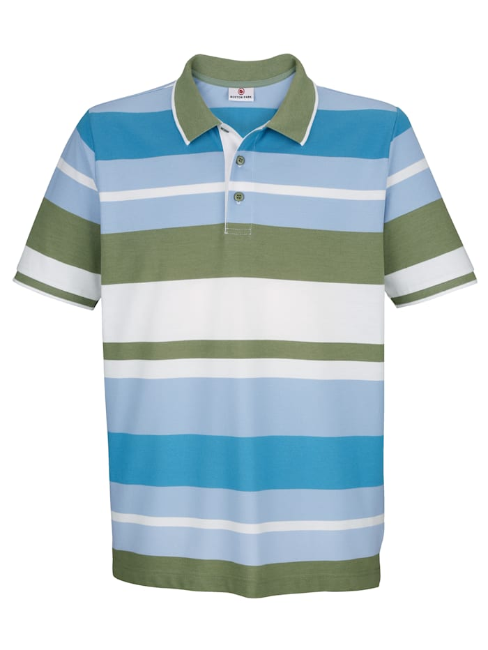 Boston Park Poloshirt mit garngefärbtem Streifenmuster, Blau/Weiß/Khaki