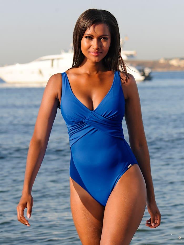 Charmline Badeanzug mit Wickeloptik, Royalblau