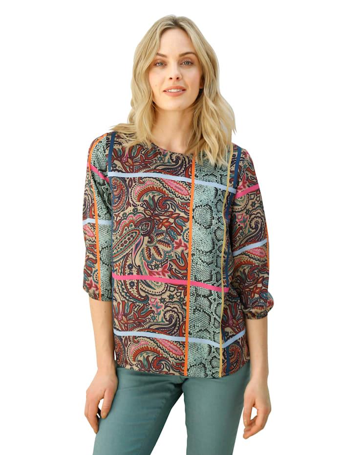 AMY VERMONT Tuniek in een bontgekleurde patronenmix, Turquoise/Paars/Pink