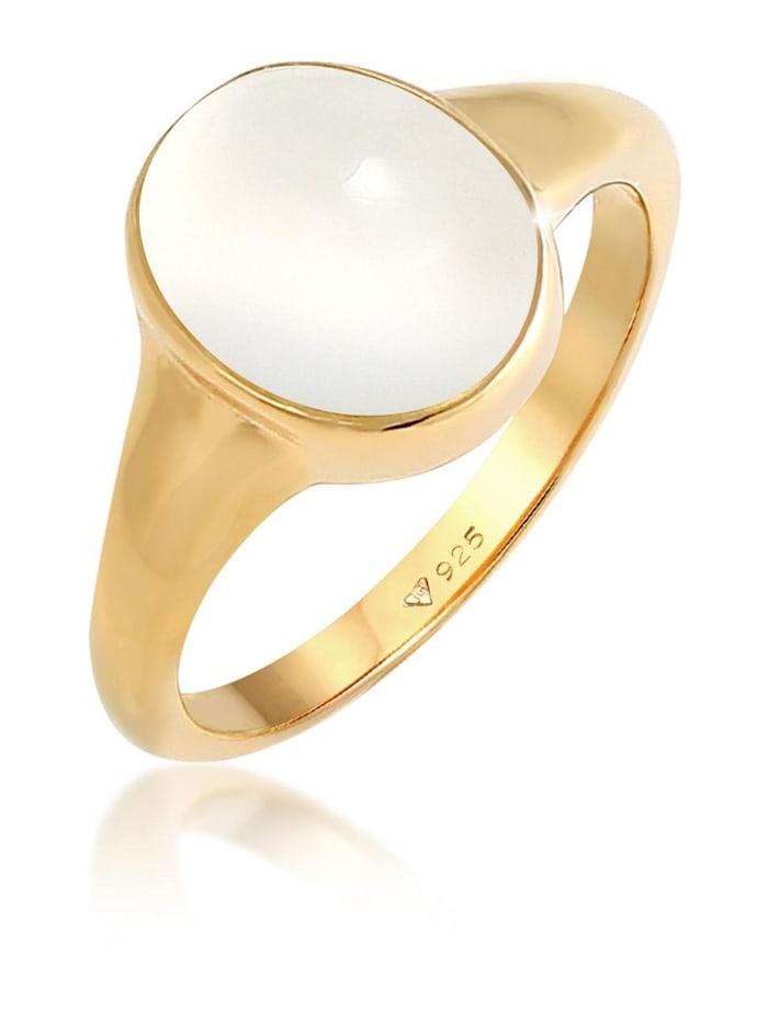 Elli Ring Siegelring Mondstein Oval 925 Silber Vergoldet, Gold