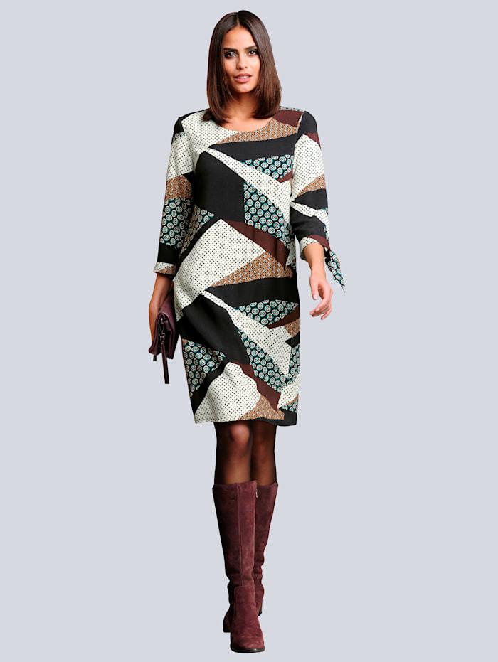 Kleid mit einem farbharmonischem grafischen Druck allover