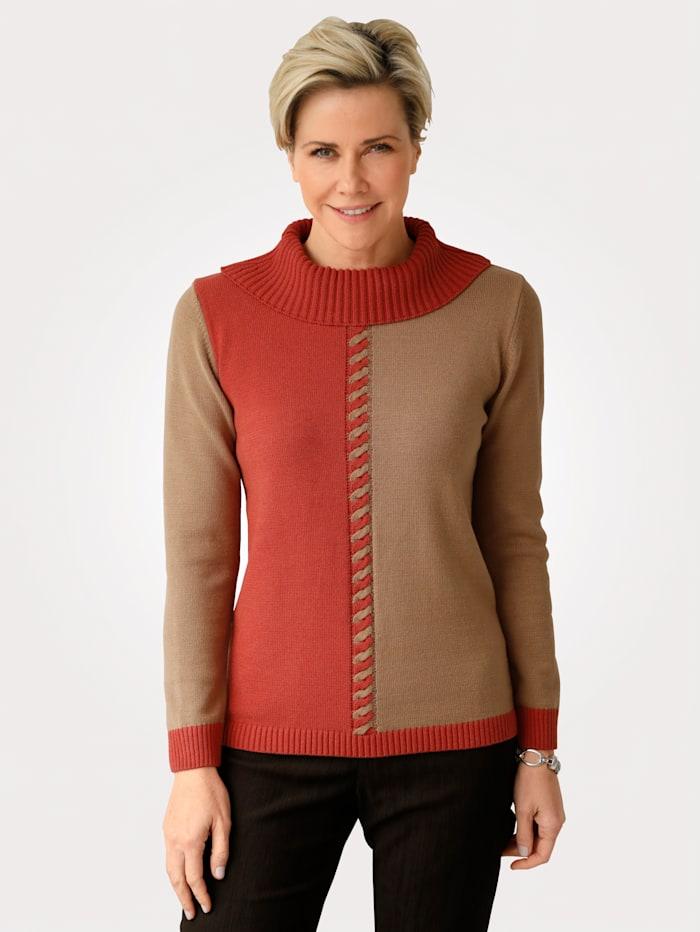 MONA Pullover mit Zopfstruktur, Rost/Hellbraun