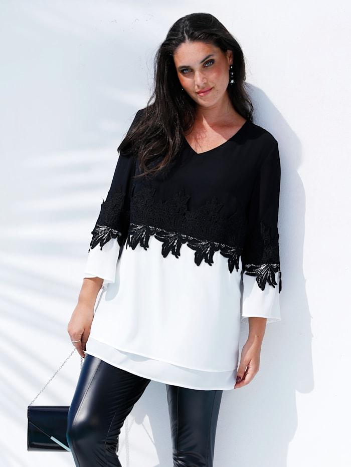 MIAMODA Tunique à jolie dentelle, Blanc/Noir