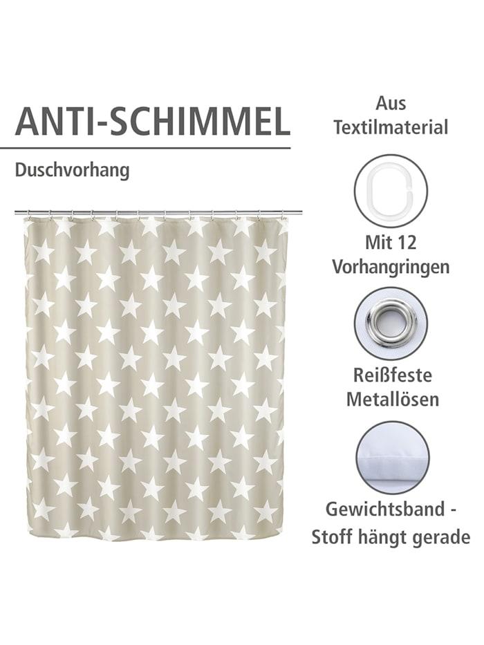 Anti-Schimmel Duschvorhang Stella Taupe, Textil (Polyester), 180 x 200 cm, waschbar