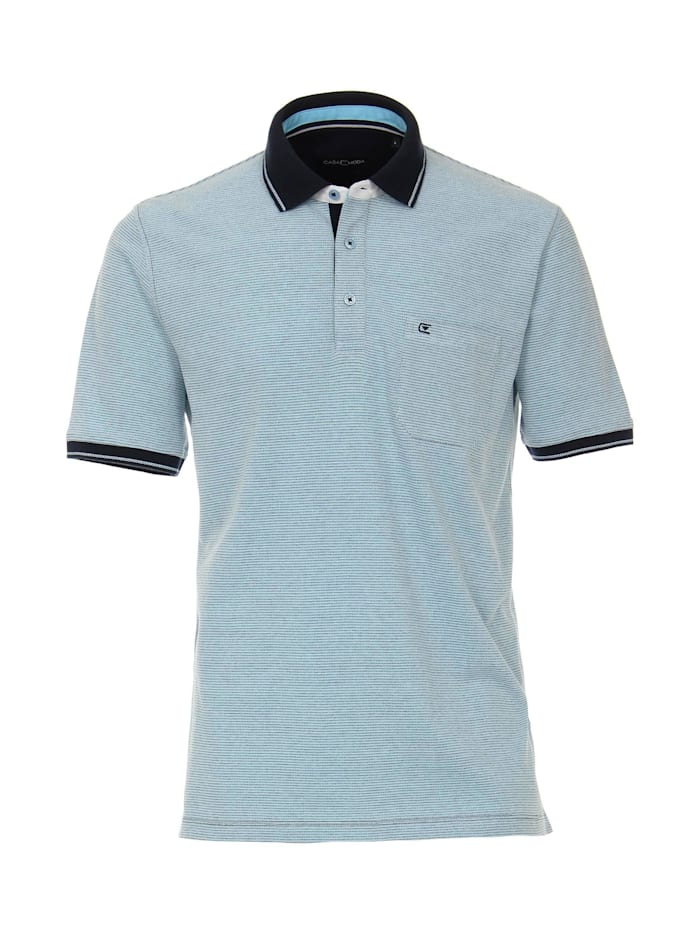 CASAMODA Polo-Shirt andere Muster, Mittelblau