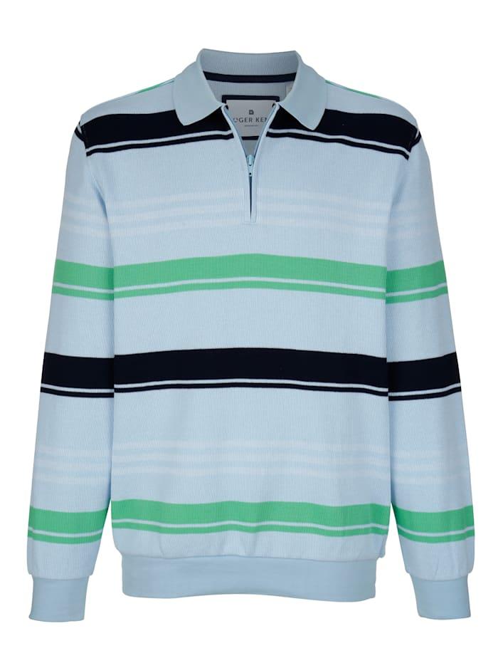 Roger Kent Sweatshirt mit Polokragen, Hellblau/Hellgrün