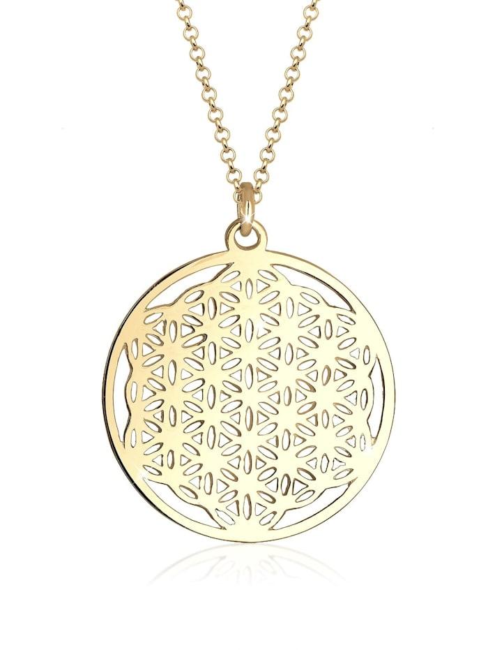 Elli Halskette Ornament Lebensblume Symbol 925 Sterling Silber, Gold