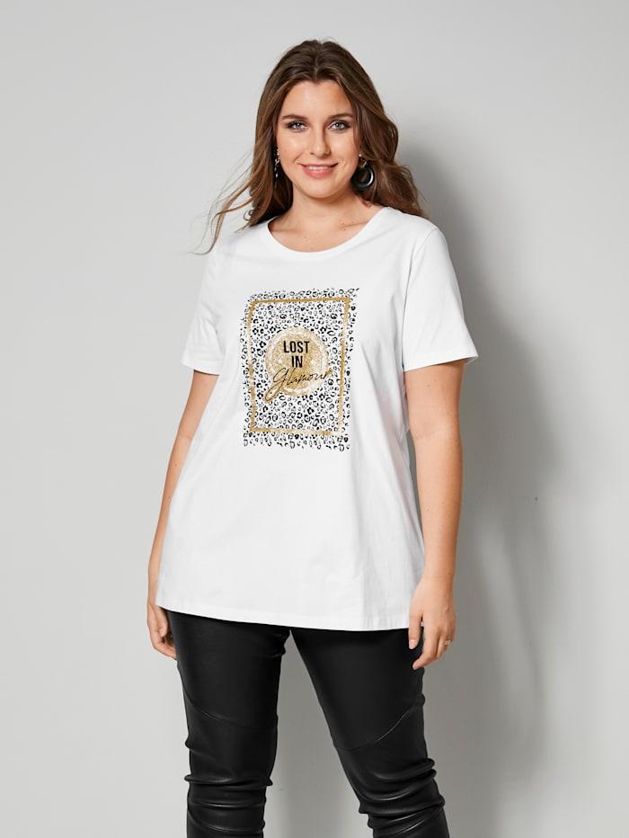 Sara Lindholm Shirt mit Glitzereffekt, Weiß