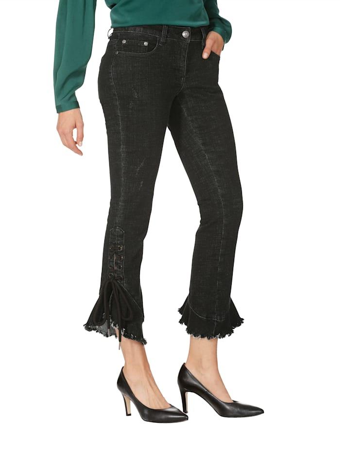 AMY VERMONT Jeans met sierveter en volant aan de pijpzoom, Zwart
