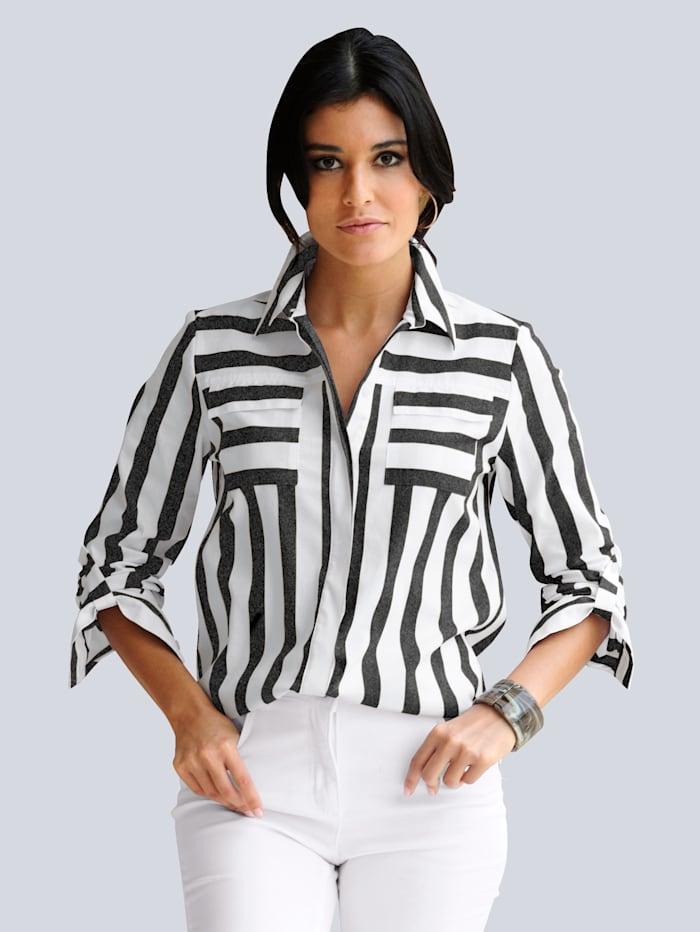 Alba Moda Bluse in schönem Streifendessin, Schwarz/Weiß