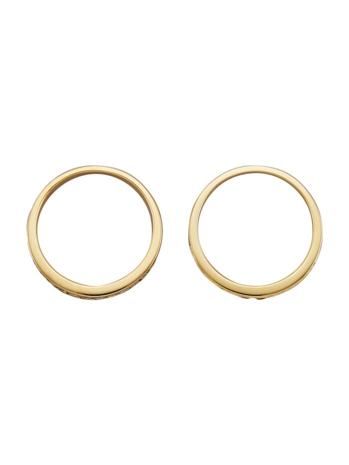 Diemer Farbstein 2tlg. Ring-Set in Gelbgold 585, Blau