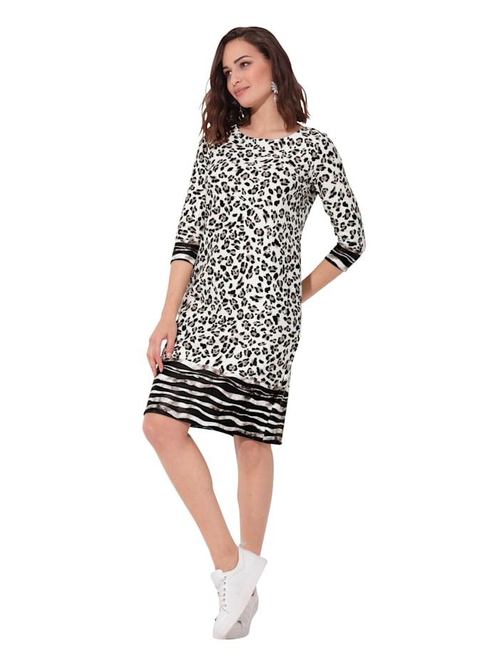 AMY VERMONT Jersey jurk met animaldessin, Offwhite/Zwart
