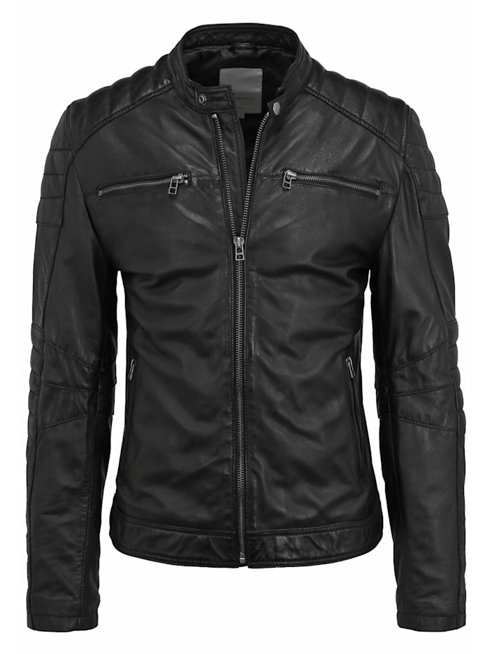 Goosecraft Lederjacke Jacket 965 Ziernähte, black