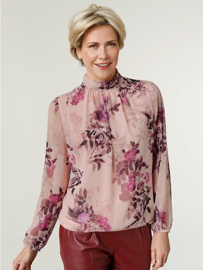 MONA Blouse à imprimé floral, Rose clair/Bordeaux