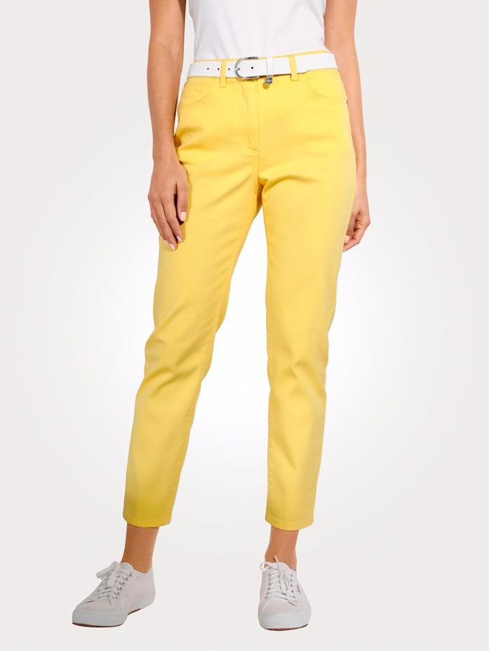 MONA Pantalon avec ceinture partiellement extensible en grandes tailles, Jaune