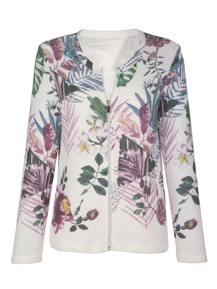 Cardigan with a fresh floral print