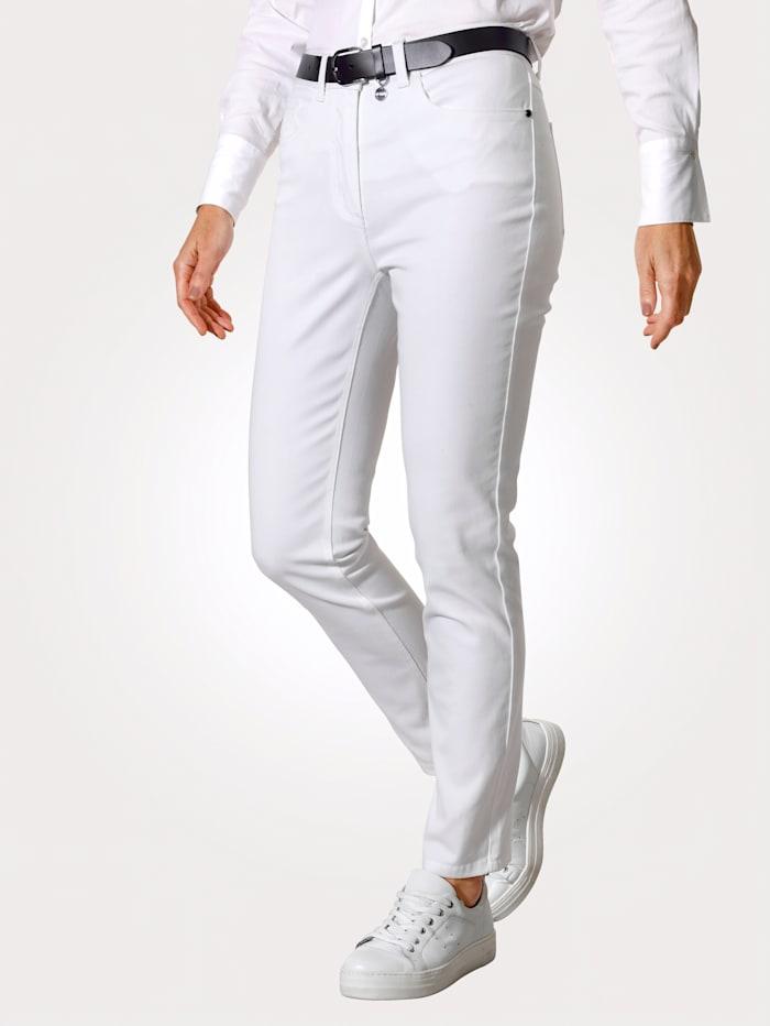 MONA Pantalon avec ceinture partiellement extensible en grandes tailles, Blanc