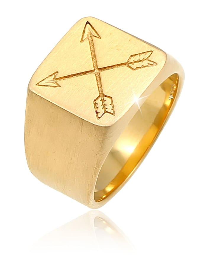 Kuzzoi Ring Herren Siegelring Matt Basic Pfeil 925 Silber, Gold