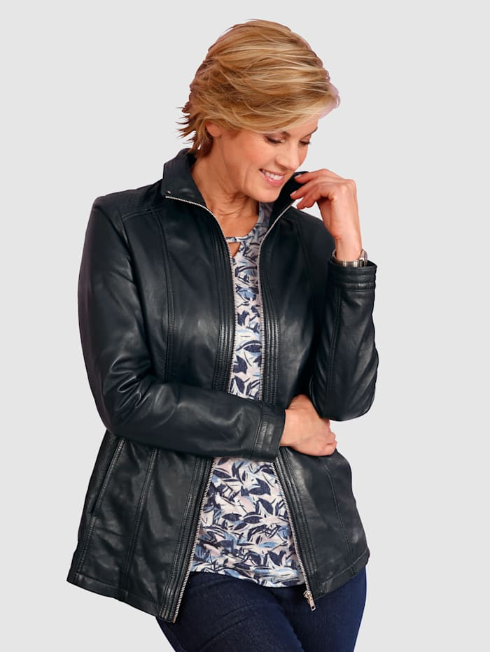 Paola Leather Jacket Made from soft leather, Navy